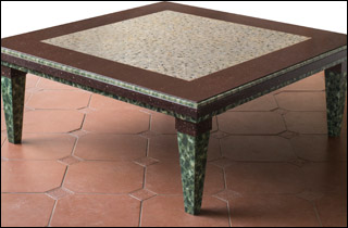 Porphery granite and verd antico table by John R. Hunt artist